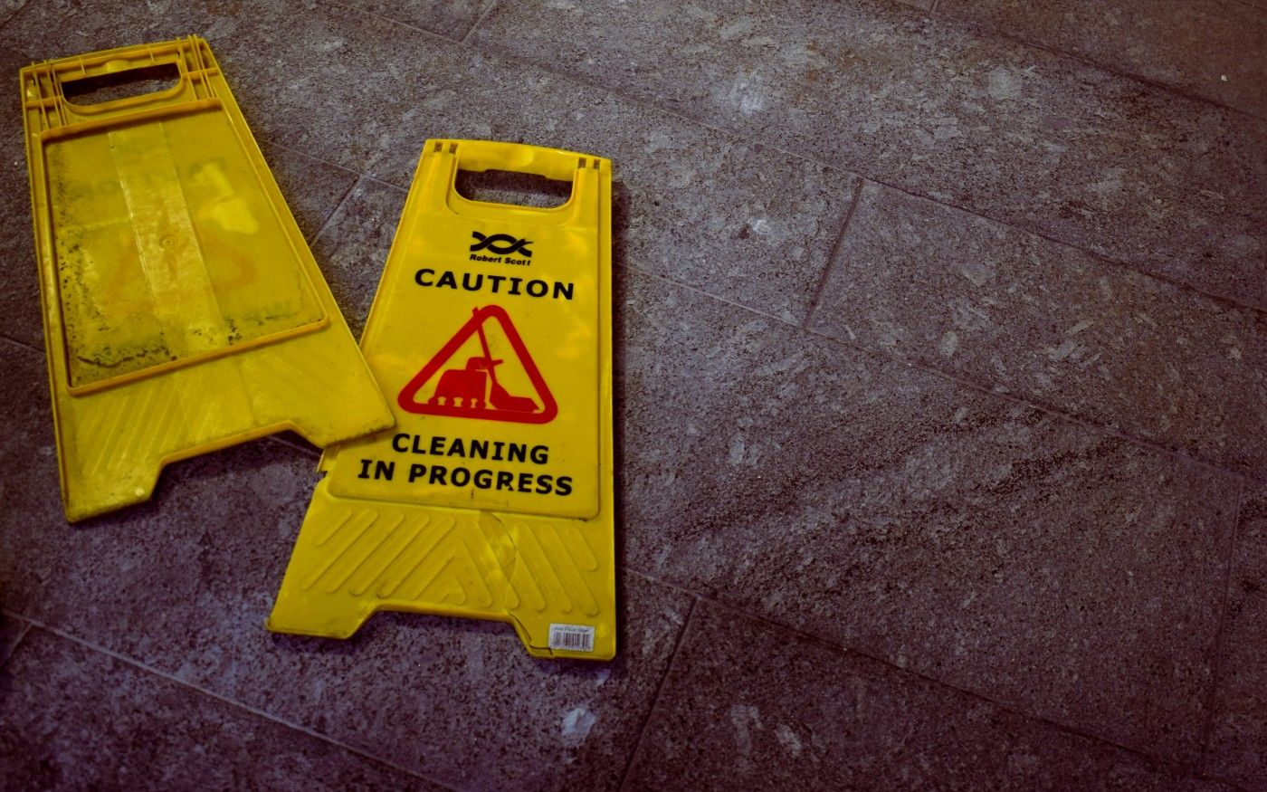 caution clean yellow standing sign floor